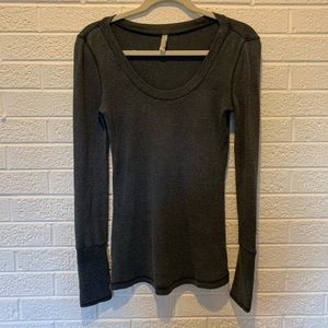 Free People Thermal Cuffed Shirt